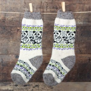 Wool knee highs - Panda